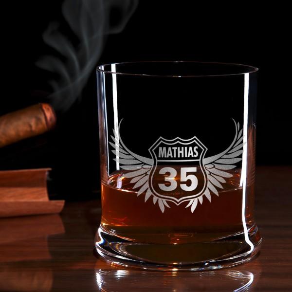 Wings Whiskyglas mit Gravur
