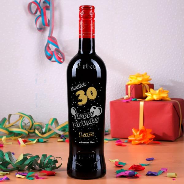 Gravierte Weinflasche zum Geburtstag, Happy Birthday