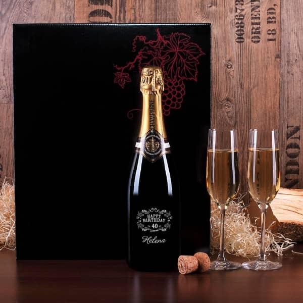 Luxuriöses Champagnerset mit 2 Sektgläsern, Geburtstag