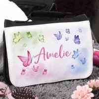 Kinder-Waschtasche mit Schmetterlingen und Name