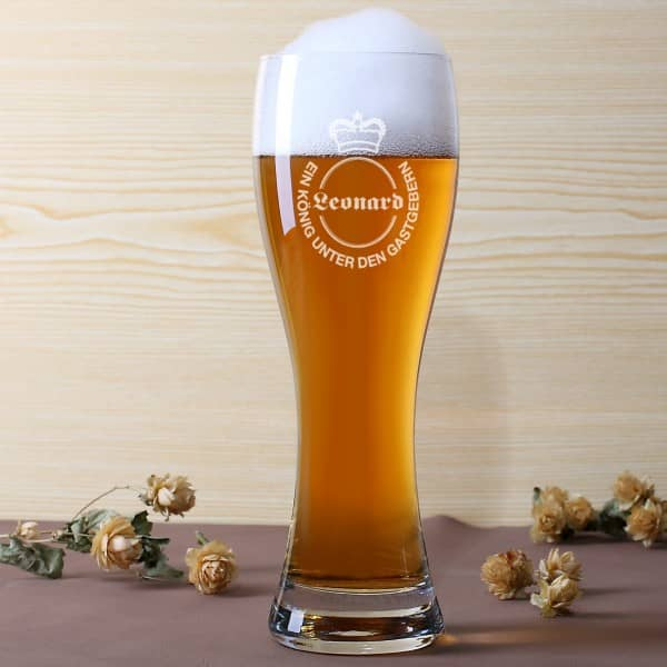 Personalisiertes Weizenbierglas mit Wunschname - König