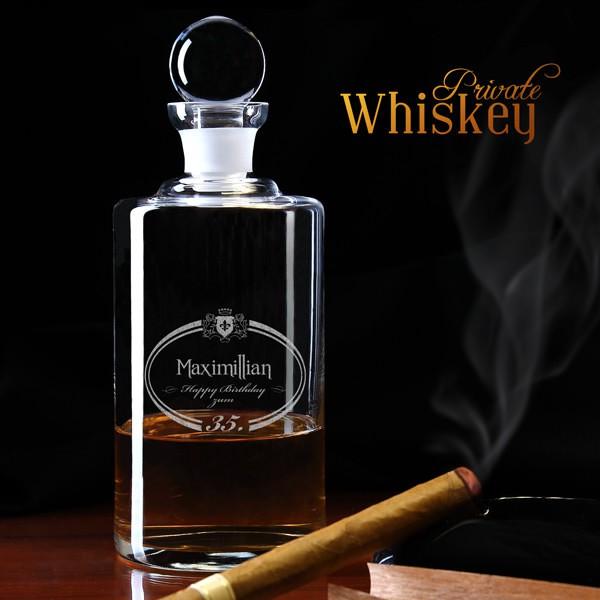 Whisky Karaffe mit Geburtstagsmotiv und Wunschname