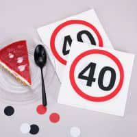 Servietten mit Verkehrszeichen zum 40. Geburtstag