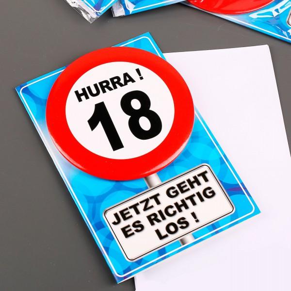 Verkehrszeichen Button mit Grußkarte zum 18. Geburtstag