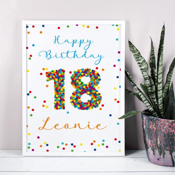 Bilderrahmen zum 18. Geburtstag mit Konfetti und Ihren Wunschangaben bedruckt