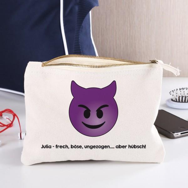 Kosmetiktasche mit Teufel Emoticon und Ihrem Wunschtext