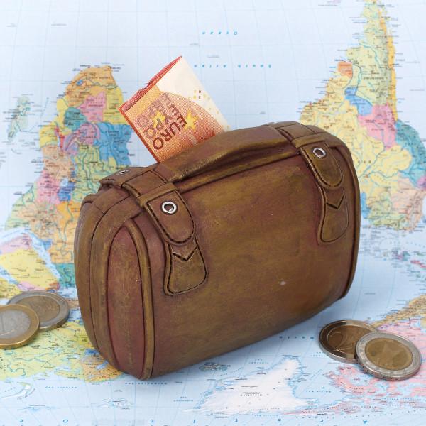 Brauner Koffer - Spardose