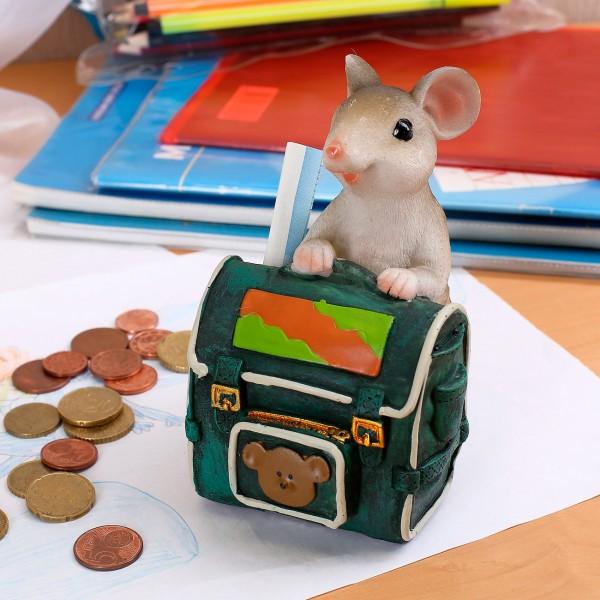 Spardose Maus mit Schulrucksack *grün*