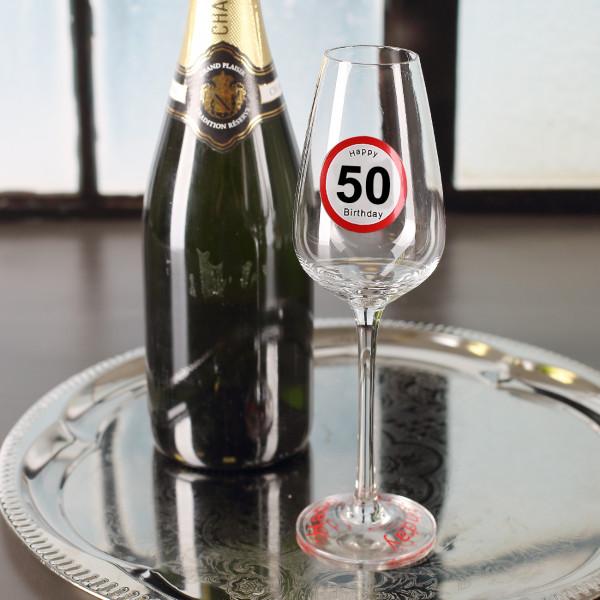 Happy Birthday Sektglas zum 50.