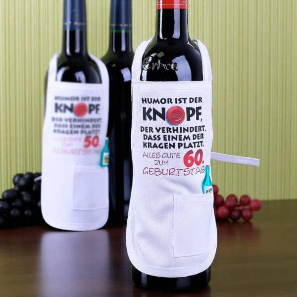 Kleine Schürze für Flaschen zum 60. Geburtstag
