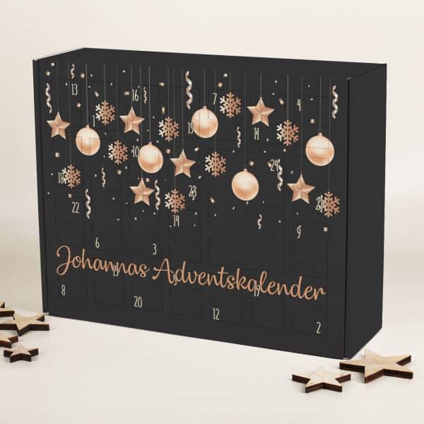 DIY Adventskalender zum selbst Befüllen mit Christbaumschmuck bedruckt