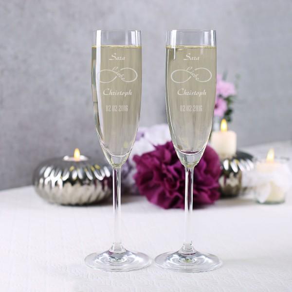 2 Sektgläser zur Hochzeit mit Gravur unendliche Liebe