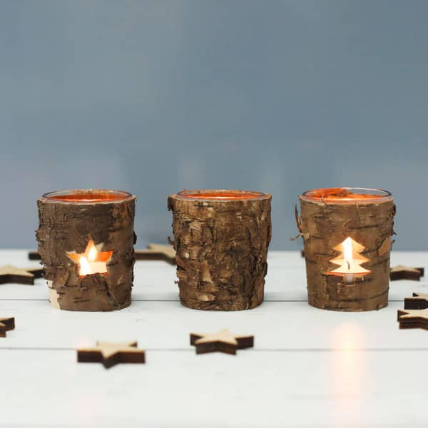 3 Kerzenhalter aus Glas mit Baumrinde