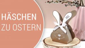 Geschenk zu Ostern, gefüllte Pralinenschachtel im Hasen-Design