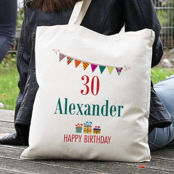 Geschenkverpackung Geburtstag Beutel mit Name und Alter, Happy Birthday