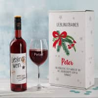 Lieblingswein-Geschenkset zu Weihnachten mit Weinglas in Geschenkbox