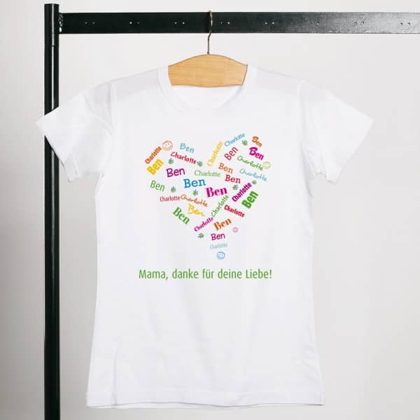 T Shirt zum Muttertag mit einem Herz aus den Namen der Kinder