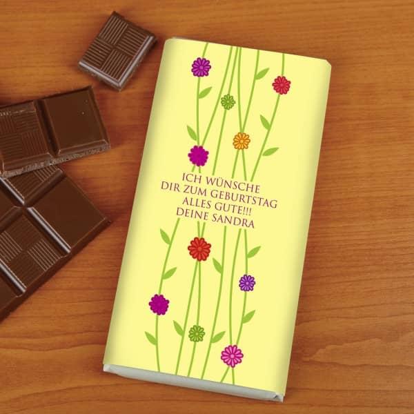 100g Schokolade als Geschenk mit Blumenmotiv