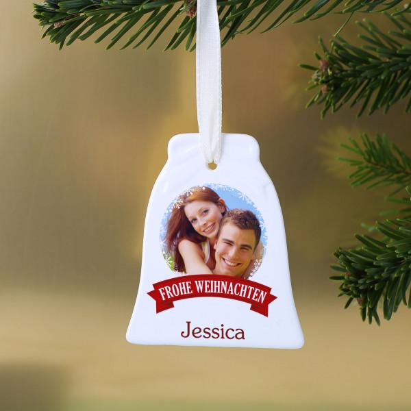Weihnachtsglocke mit Wunschname und persönlichen Foto