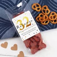 Kleine Salami-Herzen zum Geburtstag mit Name und Alter bedruckt