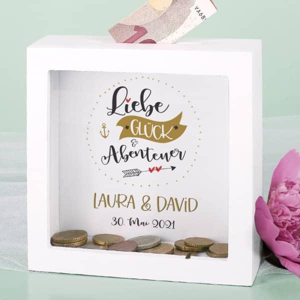 Liebe, Glück & Abenteuer - Bilderrahmen Spardose für Geldgeschenke zur Hochzeit