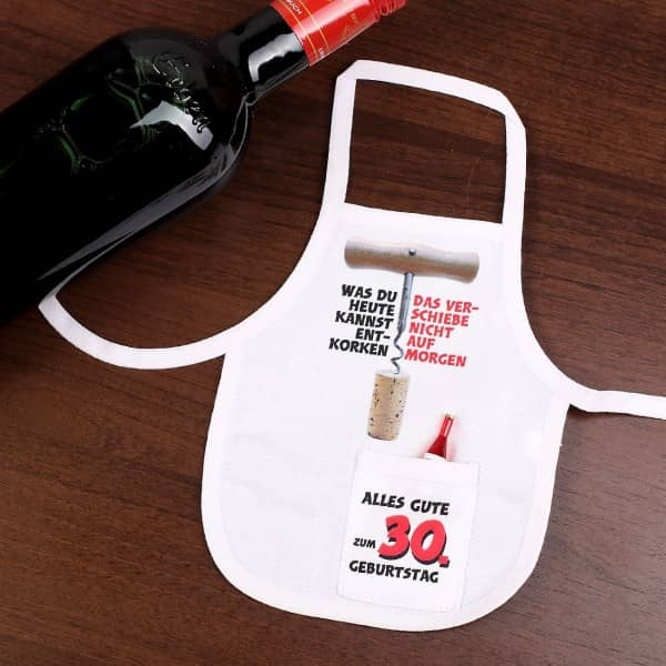Flaschenschürze zum 30. Geburtstag