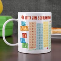 Bruchfeste Tasse zum Schulanfang mit Einmaleins und Wunschtext