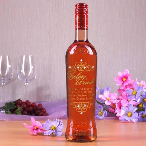 Persönliche Weinflasche Vielen Dank mit Swarovski Elements in gold