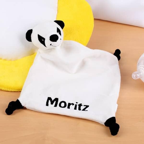 Kuscheltuch Panda mit bestickten Namen