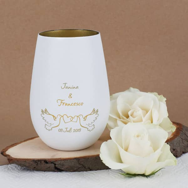 Hochzeits Teelicht mit Tauben und Namensgravur