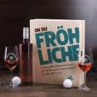 Oh du fröhliche... Weinset zum Fest - 2 gravierte Gläser, 1 Weinflasche in bedruckter Holzbox
