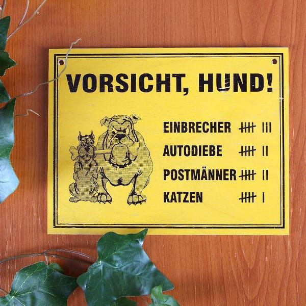 Holzschild Vorsicht Hund