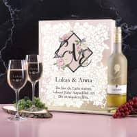 Maybach Weißwein Geschenkset zum Valentinstag mit zwei gravierten Gläsern