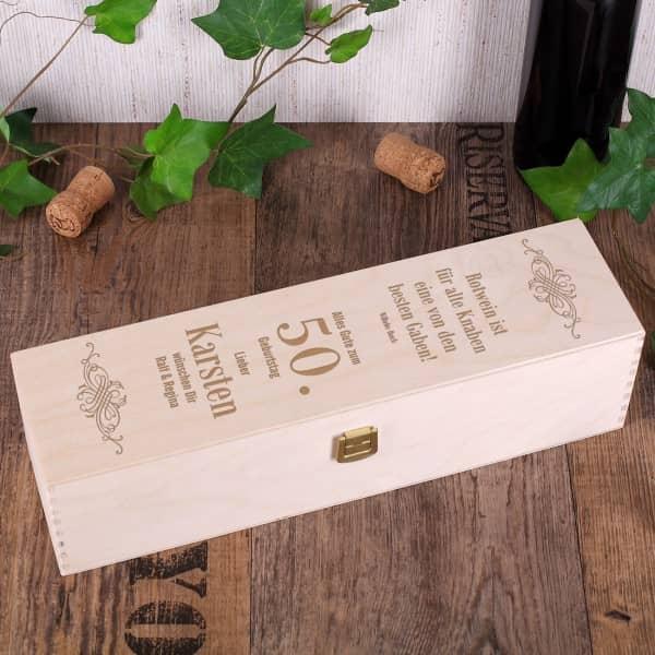 gravierte Geschenkbox zum Geburtstag Rotwein ist...