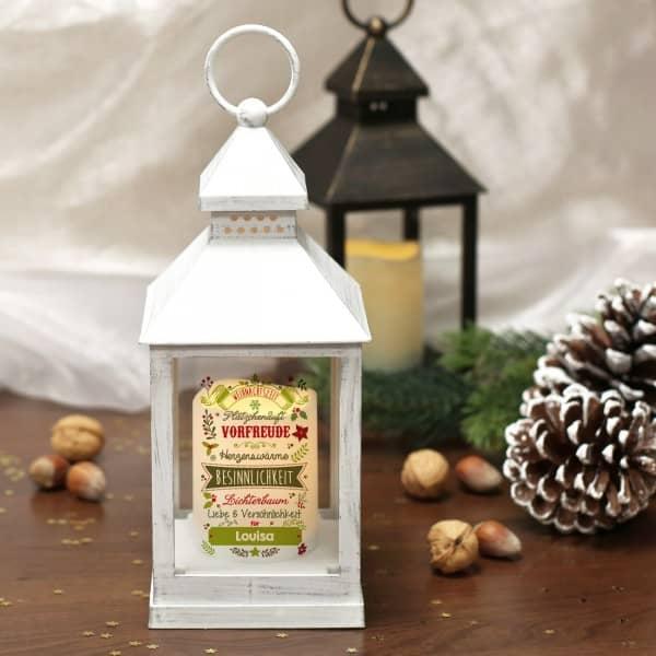 Weihnachtslaterne mit intergrierter Flammloser Kerze
