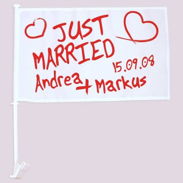 Hochzeitsfahne für Autoscheibe mit Namen und Datum