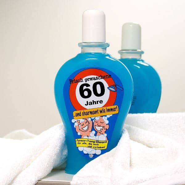 blaues Shampoo zum 60. Geburtstag