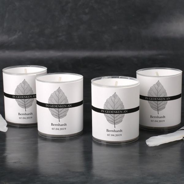Trauer-Teelichter mit Blättermotiv