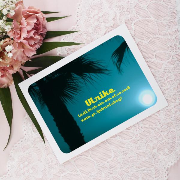 Einladungskarte mit Palmen Vorderseite