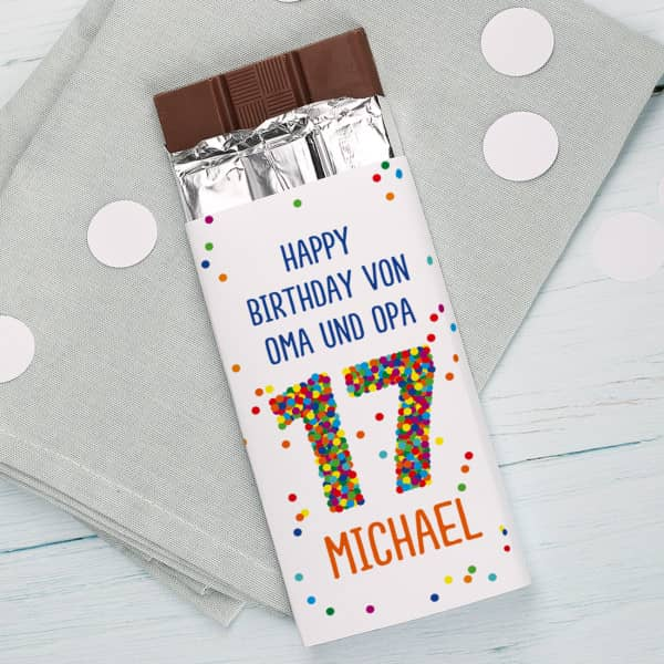 100g Schokolade zum 17. Geburtstag mit Wunschtext und Name