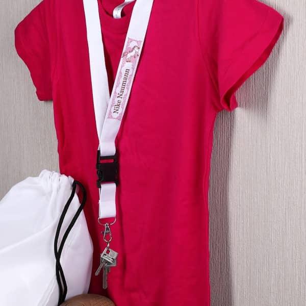 Schlüsselband mit Name und Pink Pony