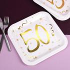 Quadratische Pappteller mit Gold-Metallic zum 50. Geburtstag