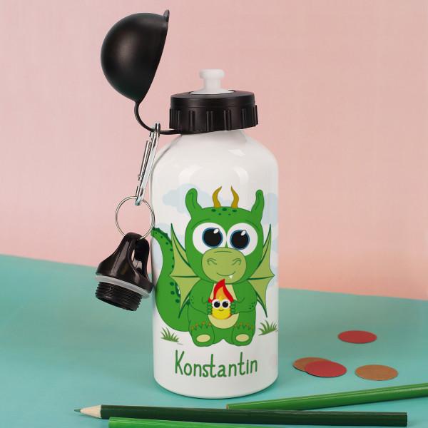 Trinkflasche mit Drachenmotiv und Wunschname