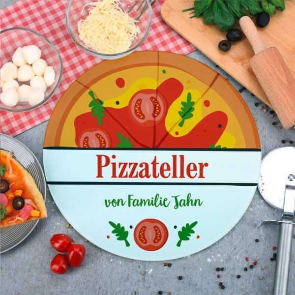 Individuellküchenzubehör - Pizzaglasteller bedruckt mit Pizzamotiv und Wunschtext - Onlineshop Geschenke online.de