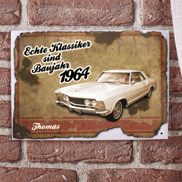 Nostalgisches Blechschild bedruckt mit Auto, Vorname und Jahr
