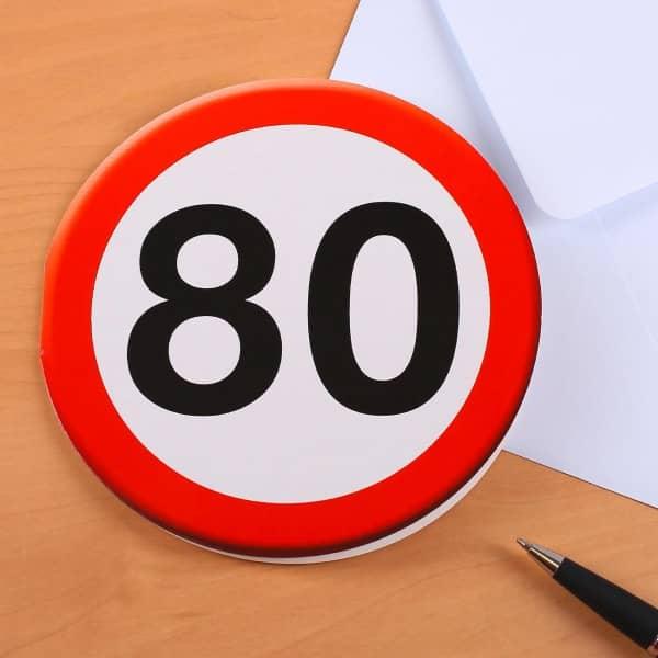 Geburtstagskarte Verkehrszeichen zum 80.