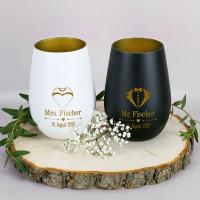 Mr & Mrs - Windlichter für Braut und Bräutigam mit Gravur