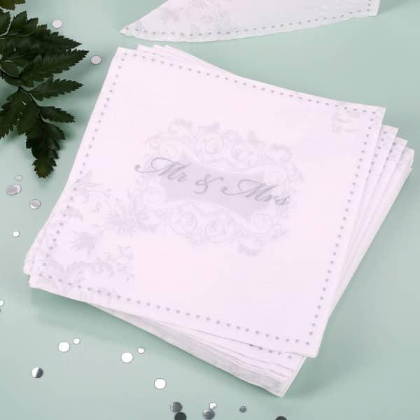 Servietten zur Hochzeit mit silbernen Druck