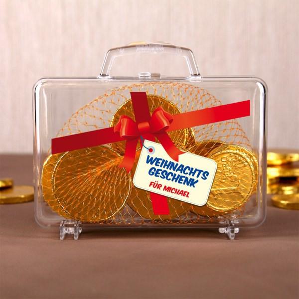Kleiner Geldkoffer Weihnachtsgeschenk mit Schleife