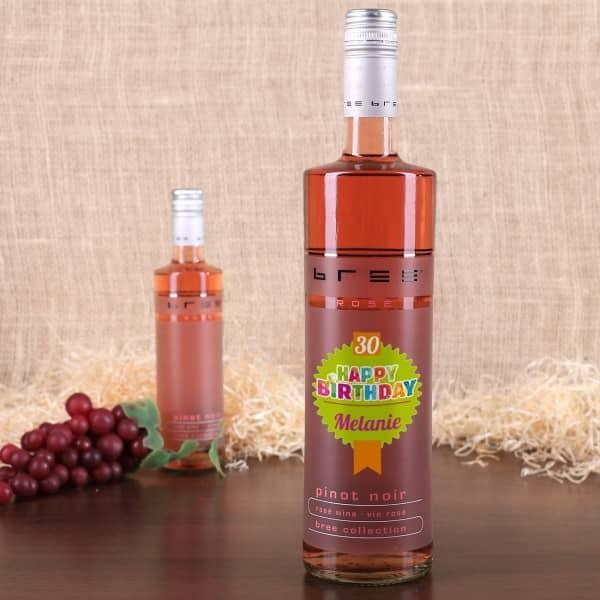 Happy Birthday - Rosè Wein mit Name und Alter
